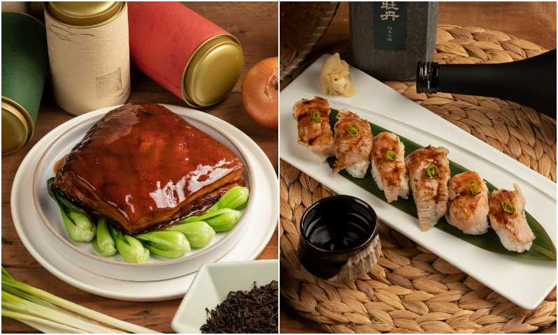 茶香東坡肉(左)、炙燒松阪豬握壽司。 (圖/台南大員皇冠假日酒店提供)