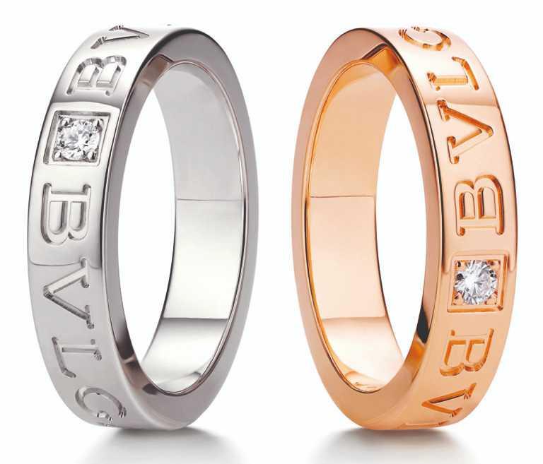 BVLGARI「BVLGARI」系列婚戒對戒,(左)白K金鑲鑽婚戒╱68,300元;(右)玫瑰金鑲鑽婚戒╱62,600元。(圖╱BVLGARI提供)