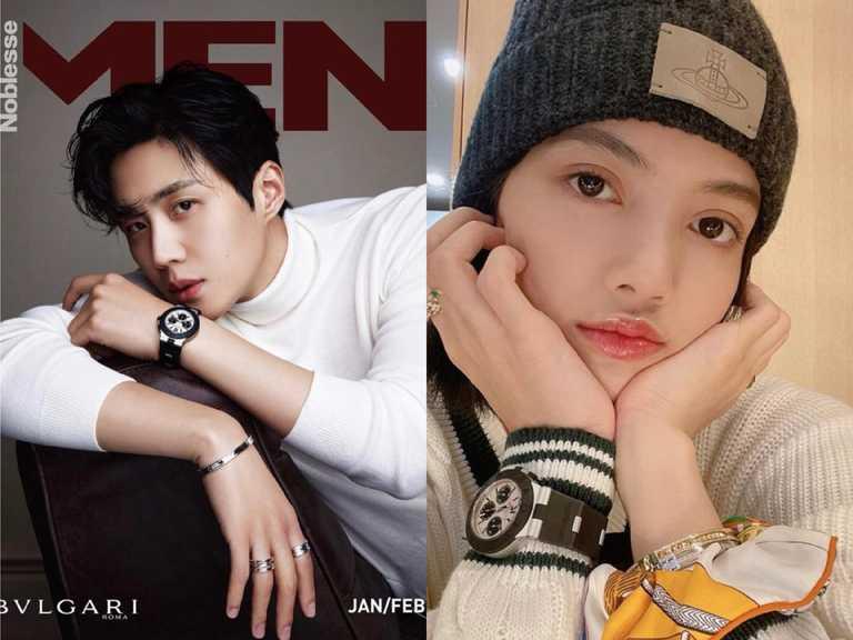 (左)韓國男演員金宣虎、(右)BLACKPINK成員Lisa,各自精采演繹寶格麗「ALUMINIUM」系列腕錶的獨特中性魅力。(圖╱BVLGARI提供)