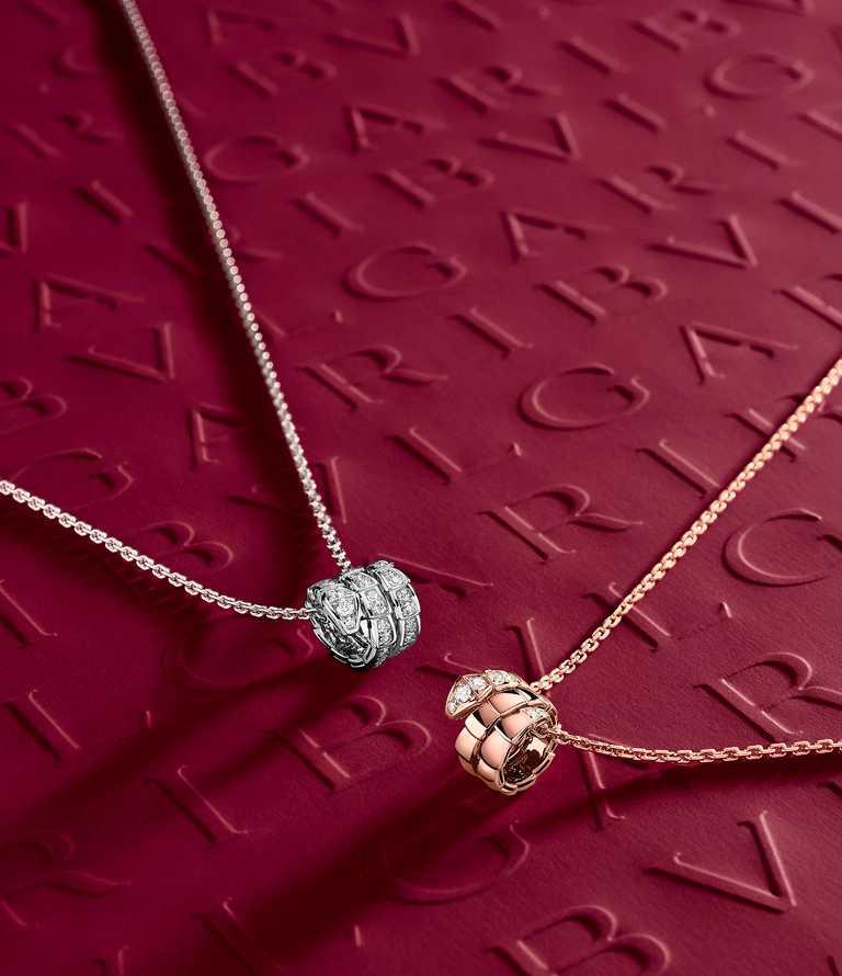 BVLGARI「Serpenti Viper」系列珠寶,(左)白金鑽石墜鍊╱213,000元;(右)玫瑰金鑽石墜鍊╱128,300元。(圖╱BVLGARI提供)