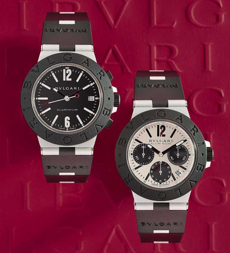BVLGARI「ALUMINIUM」系列,鋁合金計時腕錶,40 mm,(左)黑色錶盤款╱91,400元;(右)暖灰色錶盤款╱131,600元。(圖╱BVLGARI提供)