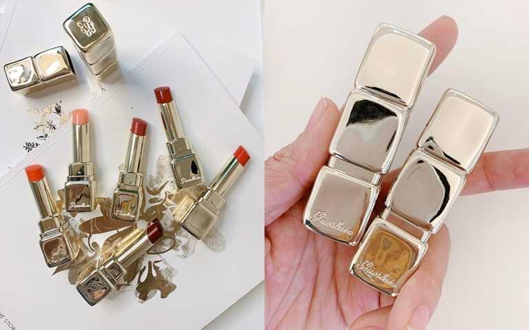 嬌蘭KISSKISS法式之吻波光水潤唇膏/1,350元不只質地不同,連外殼都換上璀璨耀人的金黃奢華新衣。(圖/吳雅鈴攝影)