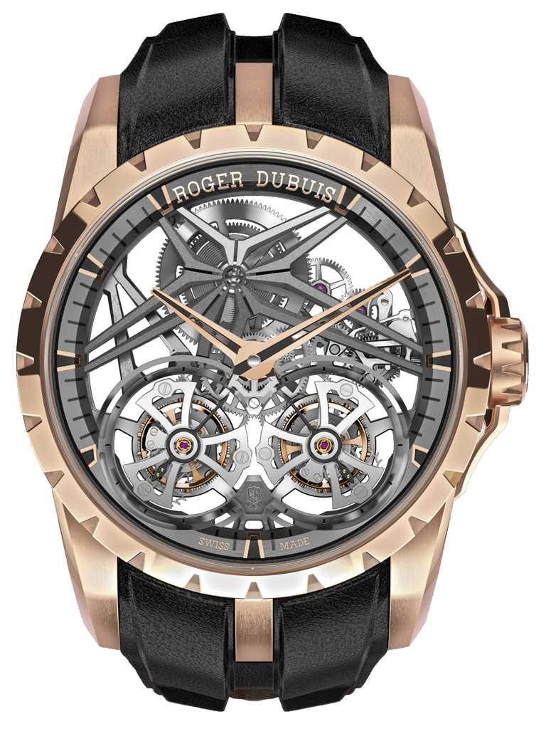 ROGER DUBUIS「Excalibur王者」系列,玫瑰金鏤空雙飛行陀飛輪腕錶,限量28只╱8,655,000元。(圖╱台北101提供)