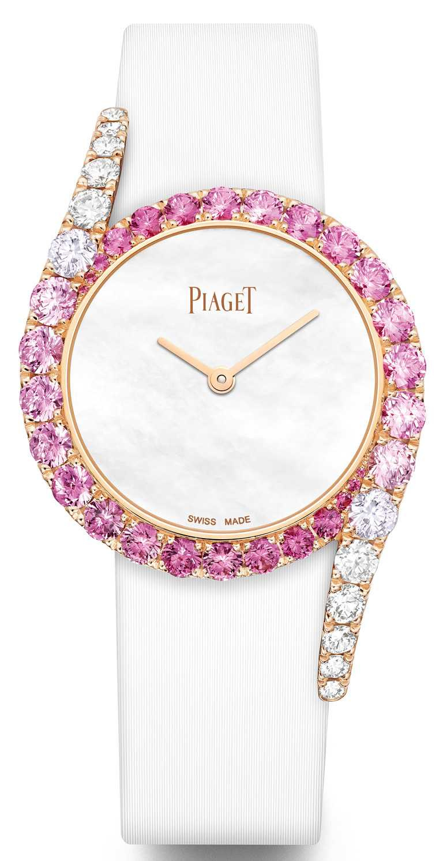 PIAGET「Limelight Gala」系列,18K白金粉紅藍寶石鑲鑽高級珠寶腕錶,全球限量50只,全台唯一╱1,940,000元。(圖╱台北101提供)