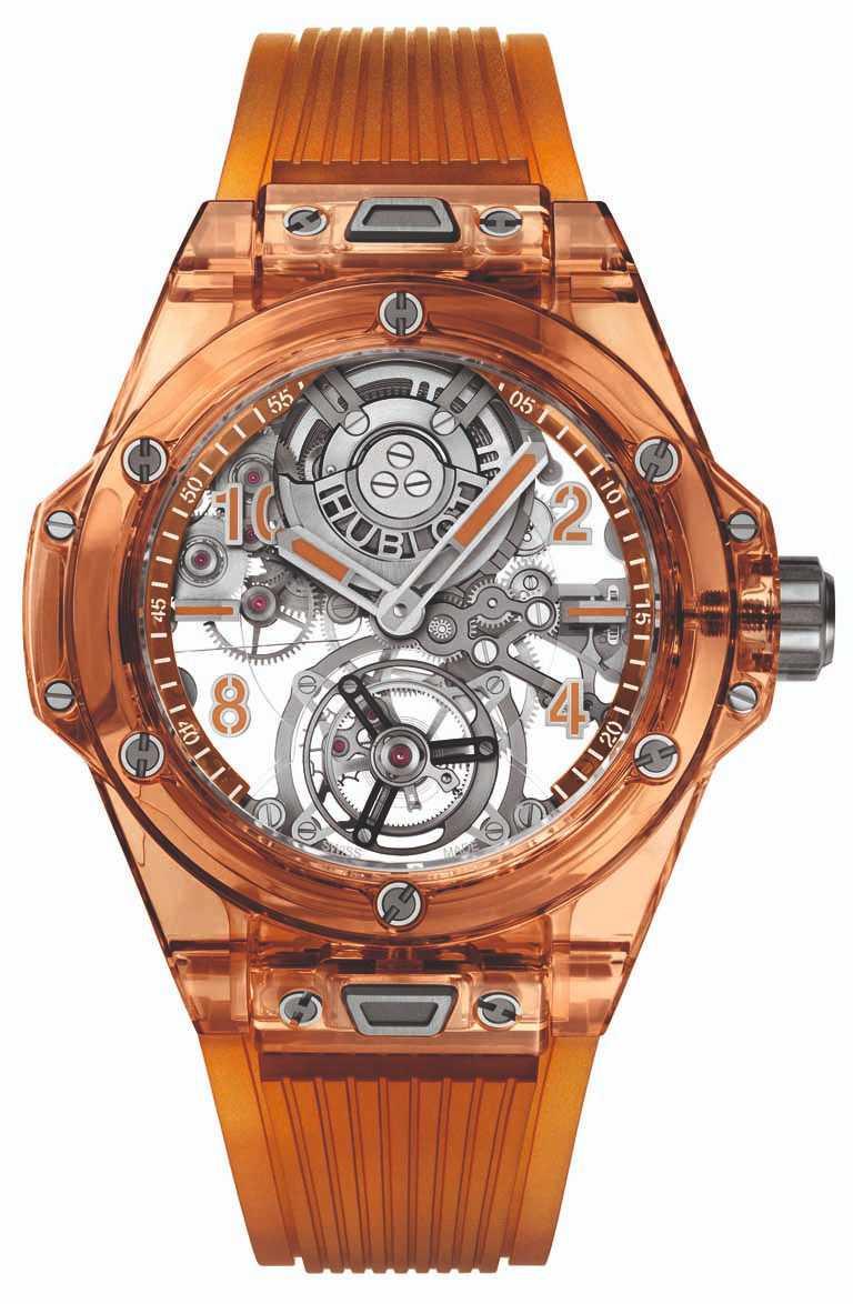 HUBLOT「Big Bang Tourbillon Automatic Orange Sapphire」冰橙藍寶石陀飛輪自動上鏈腕錶,限量50只╱5,232,000元。(圖╱台北101提供)