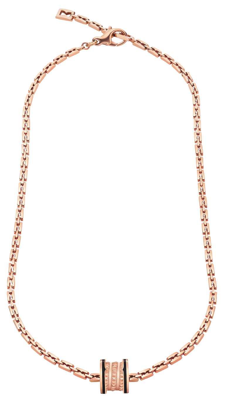 BVLGARI「B.zero1 Rock Chain」系列,玫瑰金黑陶瓷頸鍊╱215,000元。(圖╱BVLGARI提供)
