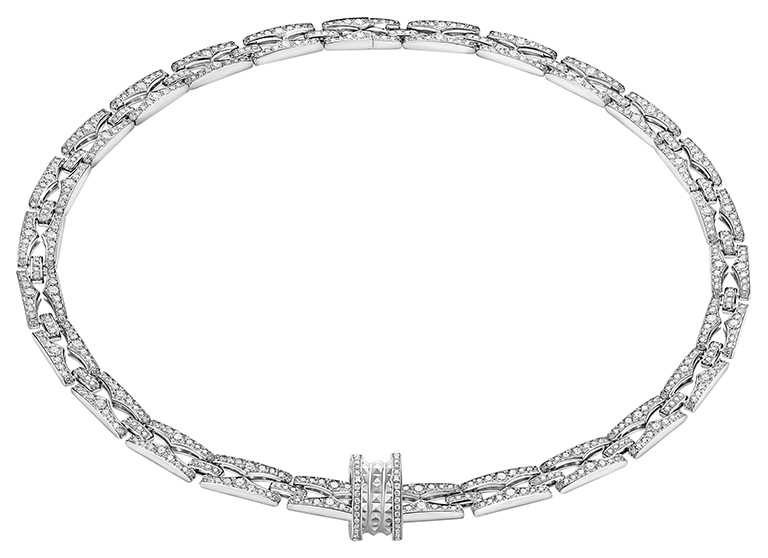 BVLGARI「B.zero1 Rock Chain」系列,白K金鑽石頸鍊╱1,699,000元。(圖╱BVLGARI提供)