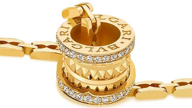 BVLGARI「B.zero1 Rock Chain」系列,黃K金鑲鑽項鍊╱313,600元。(圖╱BVLGARI提供)