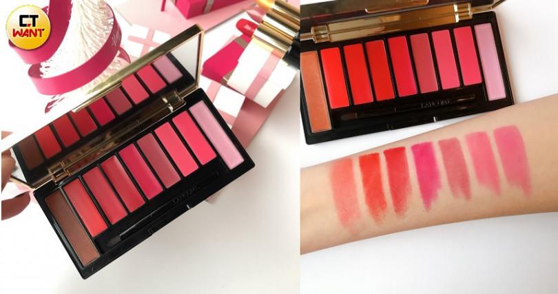 (右)唇彩盤中間七色試色,左1和右1是搭配色讓你玩美點綴LANCOME絕對完美唇彩盤-冰雪奇蹟聖誕限量版/1,980元。(圖/黃筱婷攝)