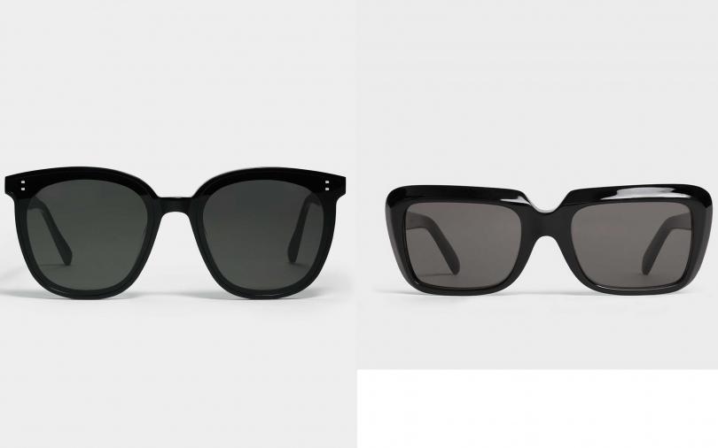 GENTLE MONTSTER MY MA 01太陽眼鏡/$249、CELINE OVERSIZED黝黑色膠框墨鏡/13,750元(圖/品牌提供)
