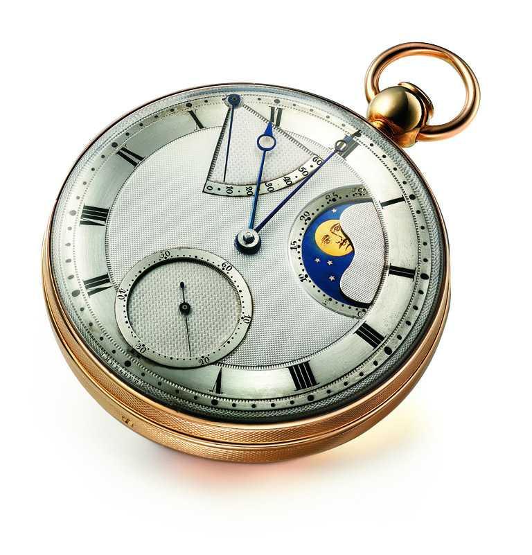 BREGUET「Classique經典系列7137月相腕錶」的設計靈感,來自Perpetual N°5懷錶。(圖╱BREGUET提供)