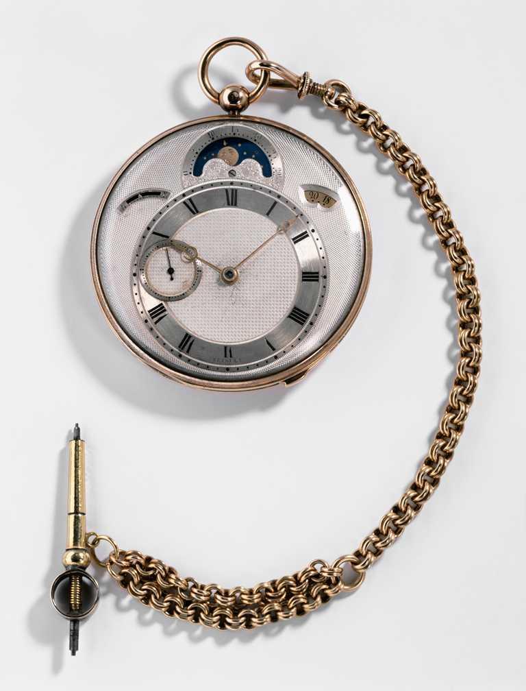 BREGUET「Classique經典系列7337月相腕錶」的設計靈感,汲取自歷史錶款N°3833懷錶。(圖╱BREGUET提供)