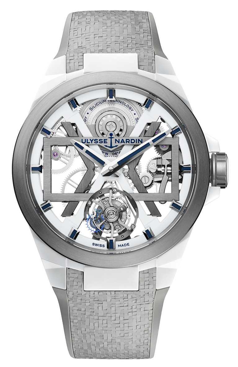 ULYSSE NARDIN「BLAST」系列,白色鏤空陀飛輪腕錶,45mm,陶瓷錶殼,UN-172型微型擺陀自動上鏈陀飛輪機芯╱1,521,000元。(圖╱ULYSSENARDIN提供)