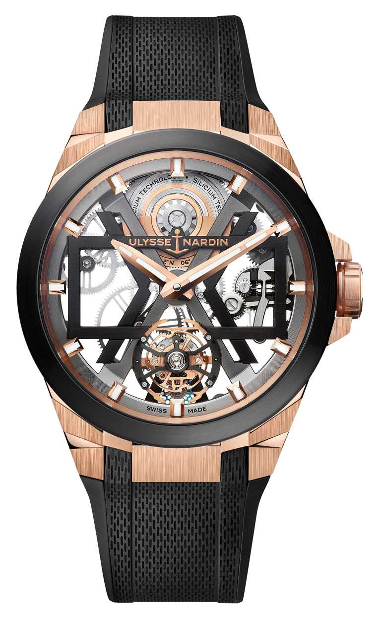 ULYSSE NARDIN「BLAST」系列,玫瑰金鏤空陀飛輪腕錶,45mm,18K玫瑰金錶殼,UN-172型微型擺陀自動上鏈陀飛輪機芯╱1,785,200元。(圖╱ULYSSENARDIN提供)