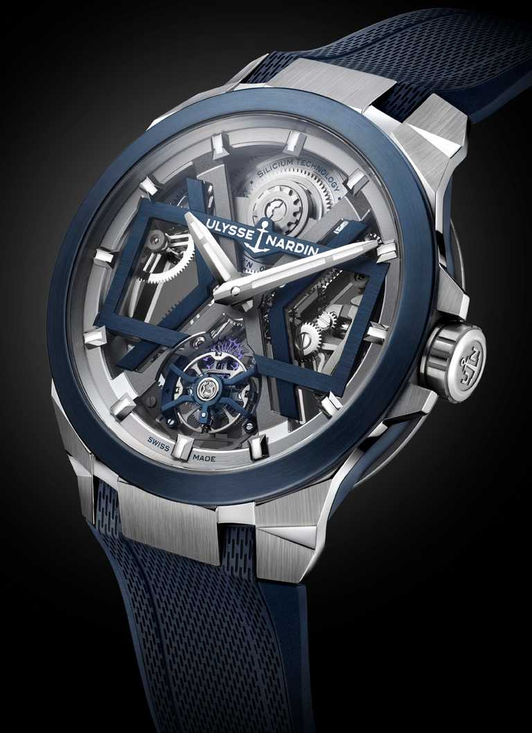 ULYSSE NARDIN「BLAST」系列,藍色鏤空陀飛輪腕錶,45mm,鈦金屬錶殼,UN-172型微型擺陀自動上鏈陀飛輪機芯╱1,455,000元。(圖╱ULYSSENARDIN提供)
