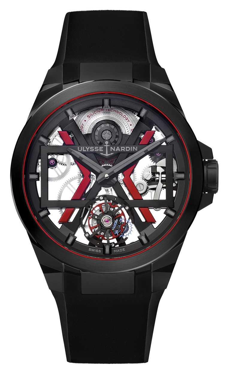 ULYSSE NARDIN「BLAST」系列,黑色鏤空陀飛輪腕錶,45mm,陶瓷錶殼,UN-172型微型擺陀自動上鏈陀飛輪機芯╱1,521,000元。(圖╱ULYSSENARDIN提供)