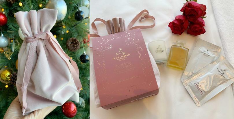 """這款歡沁玫瑰沐浴油現在是以搭配放鬆香薰蠟燭、乳香純露采妍面膜的""""英倫玫瑰寵愛""""限量禮盒組跟大家見面,還附有質感超高級的玫瑰粉嫩軟絨包,非常適合拿來年末送禮,保證收到的人會大滿意。(圖/吳雅鈴攝影)"""