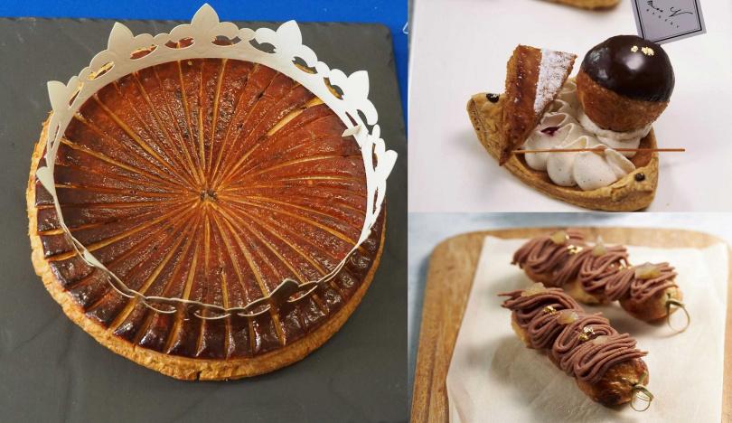 MissV Bakery除了國王派(左)還推出新甜點「一帆風順」與「蒙布朗栗子派串」。(圖/魏妤靜攝、德麥食品提供)