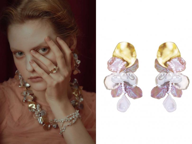 Olivia Yao Jewellery「Musée系列」,豐收女神花瓣耳環╱6,080元(圖片提供╱OYJ)