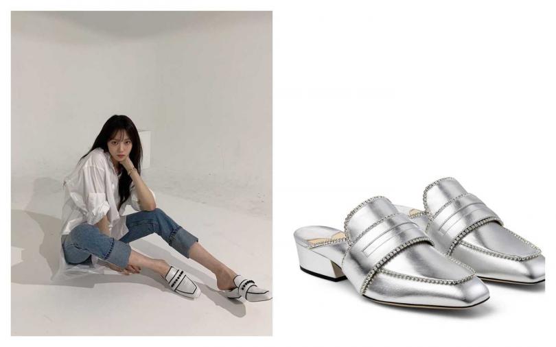 )Jimmy Choo X YK JeongBLOAFER ANGLE銀色鞋款/40,800m元 (圖/翻攝自IG、品牌提供)