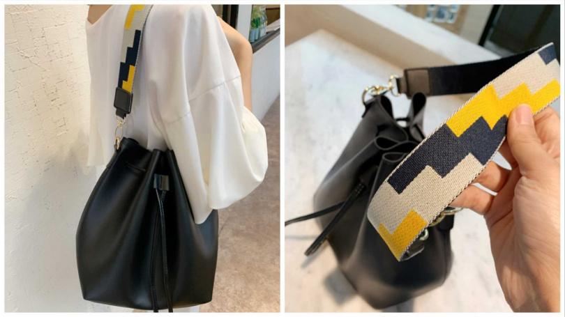 背帶超時髦,完全媲美精品質感的法式時尚水桶包。(圖/吳雅鈴攝影)