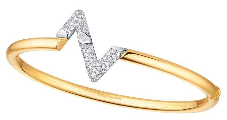 LOUIS VUITTON「LV VOLT系列」Upside Down黃金鑲鑽手鐲╱428,000元。(圖╱LOUIS VUITTON提供)
