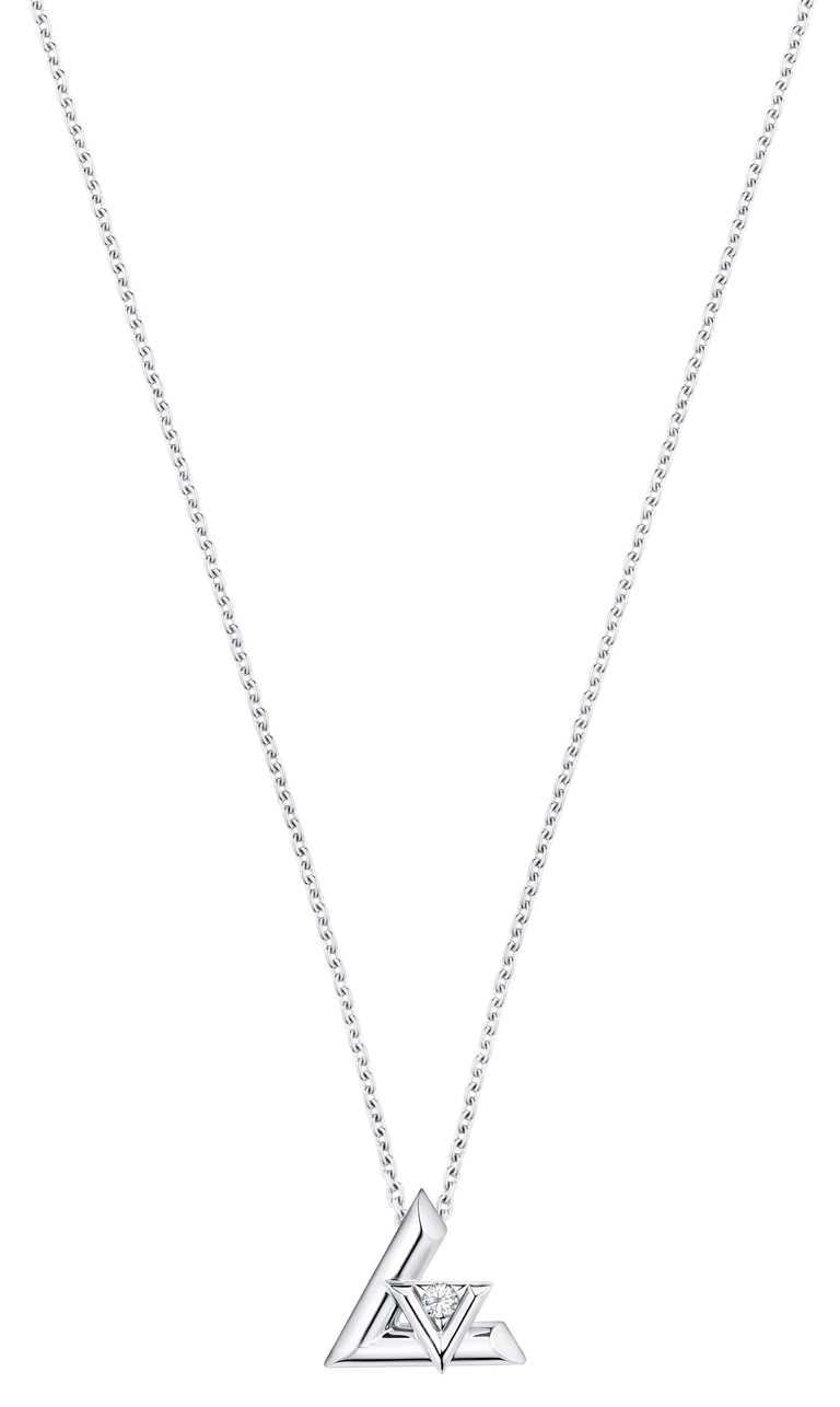 LOUIS VUITTON「LV VOLT系列」One白金鑽石項鍊╱91,000元。(圖╱LOUIS VUITTON提供)