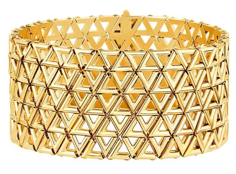 LOUIS VUITTON「LV VOLT系列」Mesh黃金手環╱1,200,000元。(圖╱LOUIS VUITTON提供)