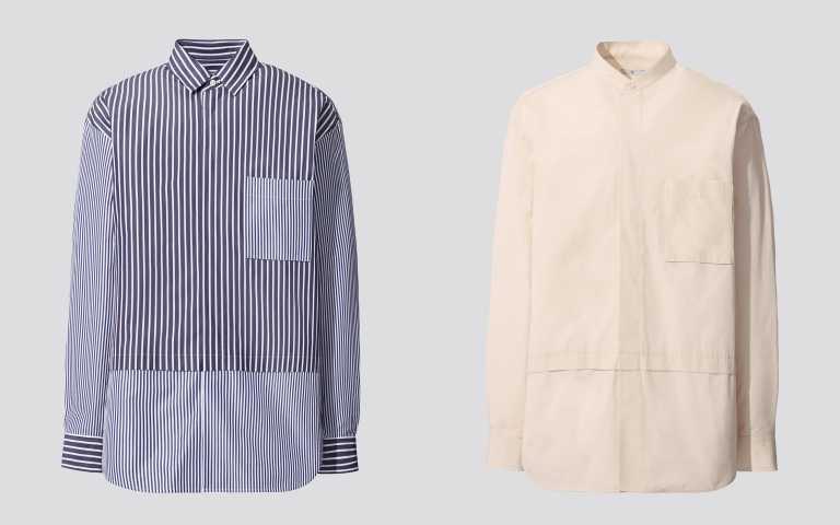 (左)+J SUPIMA COTTON 寬版襯衫/1,290元。(右)+J SUPIMA COTTON 寬版立領襯衫/ 1,290元。(圖/品牌提供)