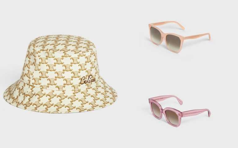 CELINE 520系列 印花刺繡漁夫帽/14,500元、CAT EYE S134太陽眼鏡/12,400元、S002太陽眼鏡/11,250元(圖/品牌提供)