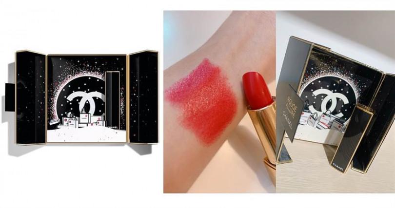 香奈兒超炫耀唇膏金燦珠寶盒/1,790元  搭配的是色號#837莓果正紅色,不分年紀任何女生擦都可以更有女人味的魅力紅。(圖/品牌提供、吳雅鈴攝影)