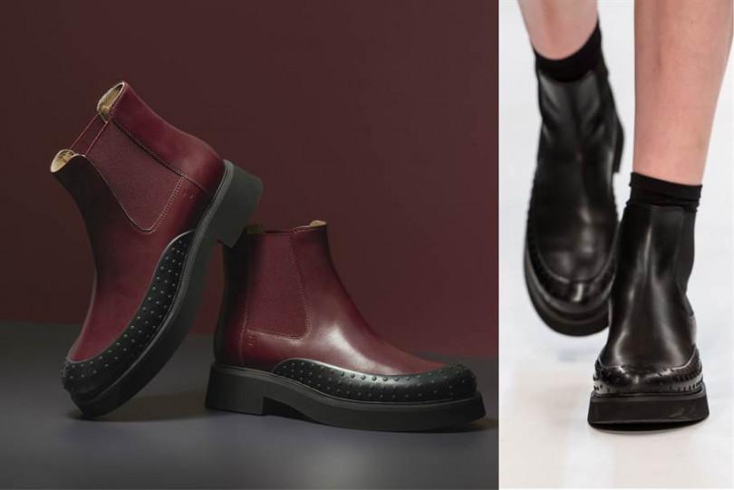 短靴款的靴口緊貼小腿,一秒拉長腿部比例!TOD'S 豆豆裝飾細節皮革裸靴28,500元,左為勃根地紅皮革款,右為黑色皮革款。圖片來源TOD'S