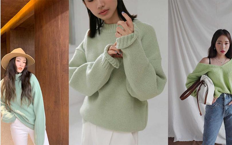 Pantone2020流行色比斯開綠,清新涼爽的綠冬天穿更文青。(圖/studiodoe,STYLENANDA)
