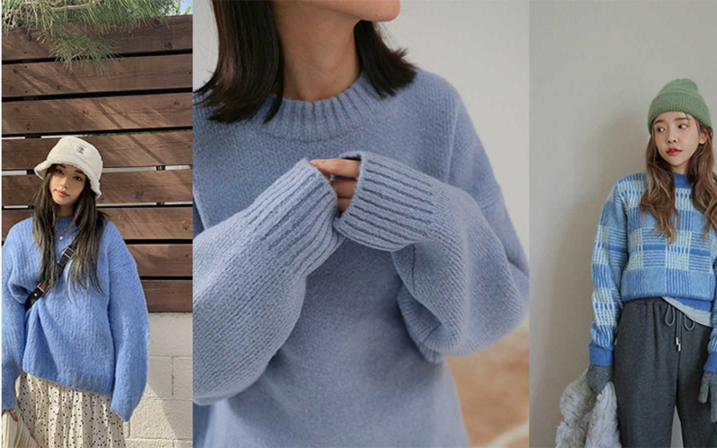 冰雪奇緣ELSA喜歡的冰雪藍,配上流行的鬆軟毛衣類型時髦萌。(圖/studiodoe,STYLENANDA)