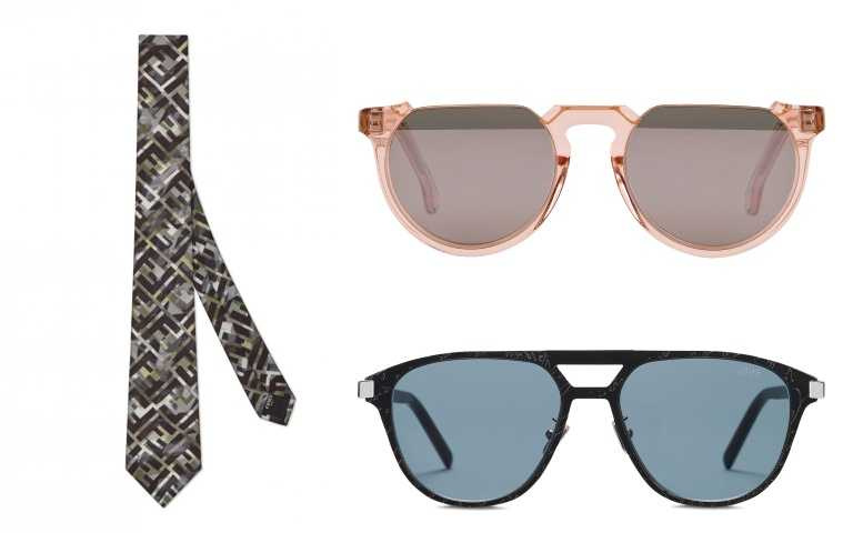 (左)FENDI FF Logo Tie領帶/6,100元。(右下)Berluti_Sun Starbust Scritto 太陽眼鏡/15,250元。(右上)Paul Smith粉色太陽眼鏡/13,800元。(圖/品牌提供)