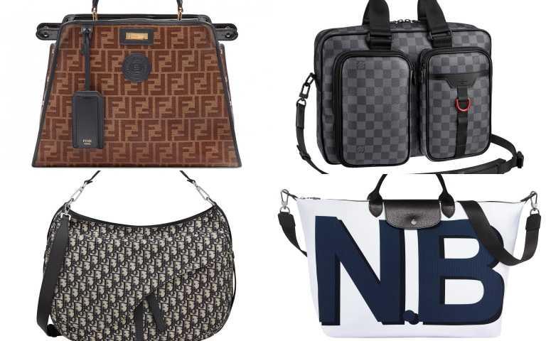 (左上) FENDI FF Logo Defender Regular Peekaboo防水保護套/168,000元;(右上)LOUIS VUITTON Utility Business bag手袋/84,500元。(左下)DIOR SADDLE 藍色OBLIQUE緹花斜背馬鞍軟包/120,000元。(右下)Longchamp My Pliage Signature 字母摺疊旅行袋/11,800元。(圖/品牌提供)