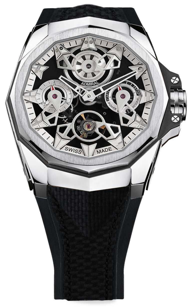 CORUM「Admiral AC-One海軍上將」系列,鏤空自動上鏈腕錶,45mm,5N鈦金屬錶殼,CO 297型自動上鏈機芯╱910,000元。(圖╱CORUM提供)