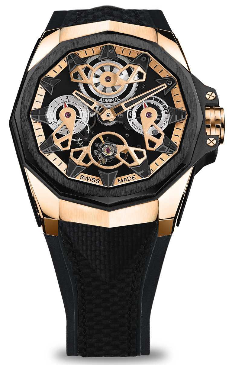 CORUM「Admiral AC-One海軍上將」系列,鏤空自動上鏈腕錶,45mm,5N 18K玫瑰金錶殼,CO 297型自動上鏈機芯╱1,160,000元。(圖╱CORUM提供)