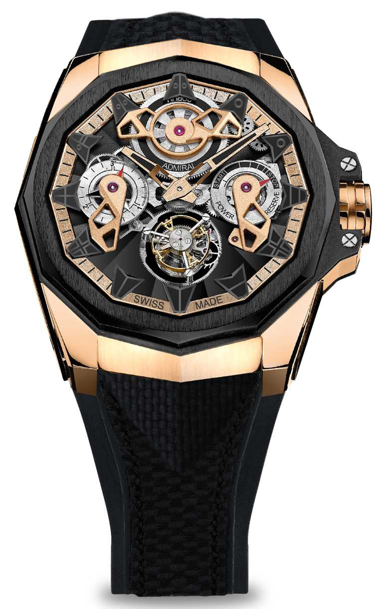 CORUM「Admiral AC-One海軍上將」系列,鏤空陀飛輪腕錶,45mm,5N 18K玫瑰金錶殼,CO 298型自動上鏈陀飛輪機芯,限量18只╱2,330,000元。(圖╱CORUM提供)