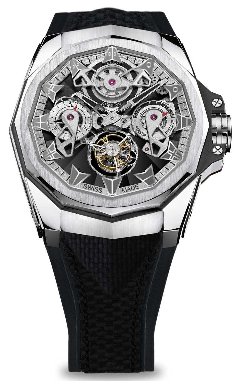 CORUM「Admiral AC-One海軍上將」系列,鏤空陀飛輪腕錶,45mm,5N鈦金屬錶殼,CO 298型自動上鏈陀飛輪機芯,限量38只╱2,080,000元。(圖╱CORUM提供)