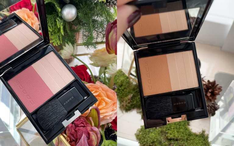 (左)#122 Rose Red × Shine Pink帶有女人韻味的玫瑰色頰彩,搭配微微粉紅的打亮色,呈現柔美的華麗感。(右)#123帶茶色的偏深黃的色調,畫起來親膚不突兀。柔和的黃棕色頰彩,搭配米色系的打亮色,透出滑潤的艷澤感。SUQQU晶采淨妍頰彩/2,100元(圖/黃筱婷攝影)