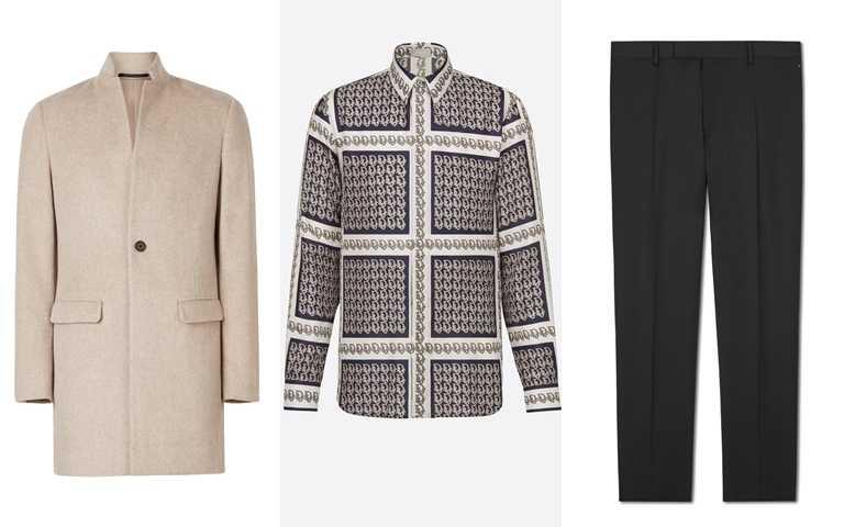 喜歡世勳的服裝你可以這樣搭>>ALLSAINTS Manor燕麥色大衣/20,800元、DIOR OBLIQUE恤衫/52,000元、Berluti初剪羊毛黑色西裝褲/34,000元(圖/品牌提供)