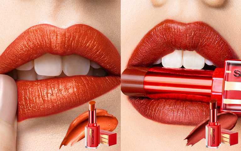shu uemura植村秀流金棕紅唇系列無色限粉霧保濕唇膏金屬款#OR555(左)#BR786(右)。(圖/植村秀提供)