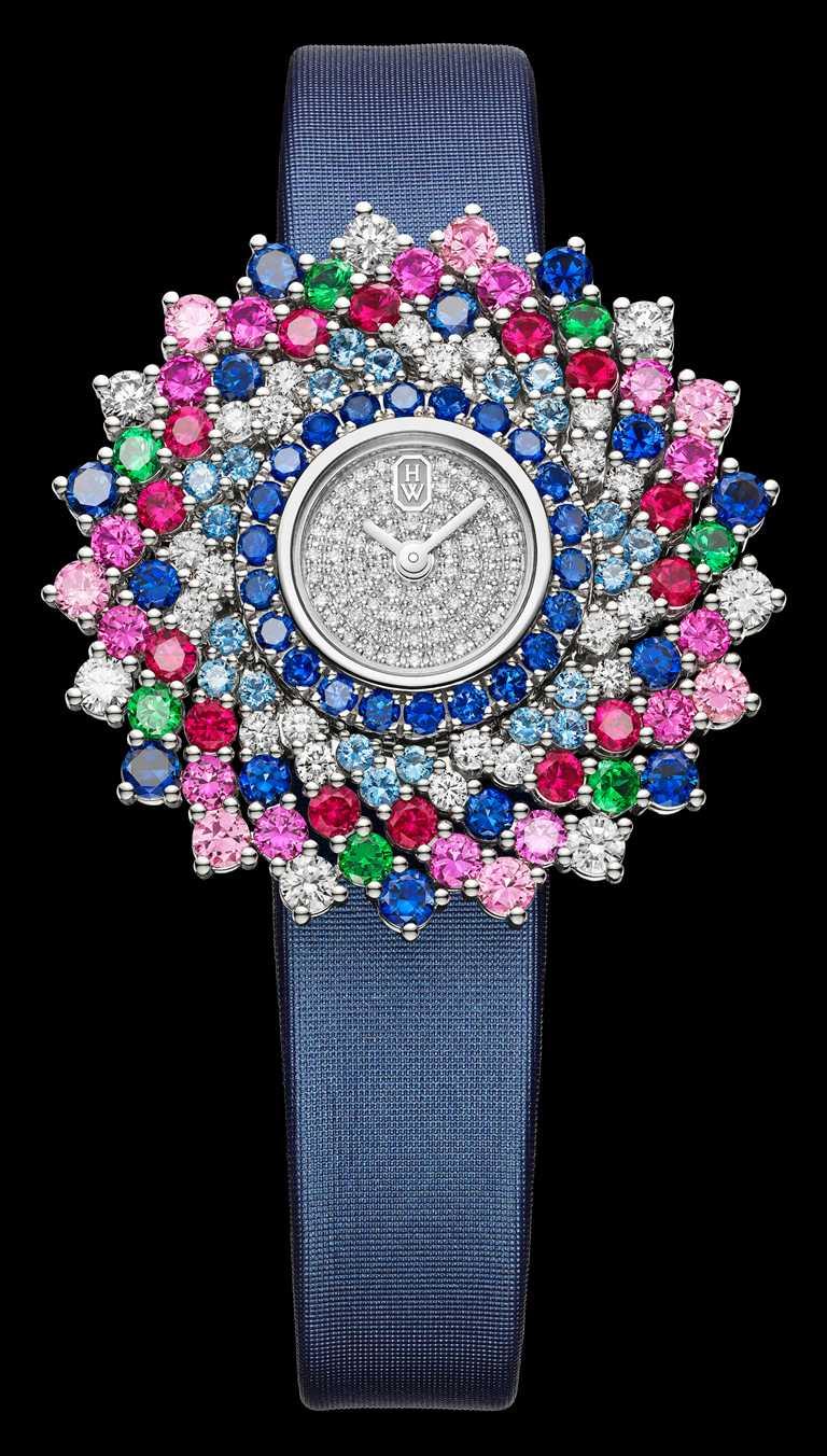 HARRY WINSTON「Kaleidoscope萬花筒」系列頂級珠寶時計,36mm,鉑金錶殼,石英機芯,鑽石128顆,彩色寶石99顆╱4,120,000元。(圖╱HARRY WINSTON提供)