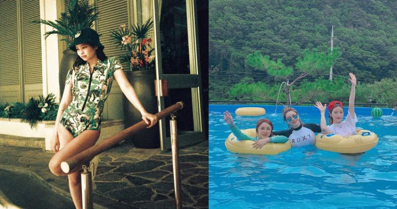 韓妞最愛穿的衝浪式泳裝,穿了它太陽再大也不怕黑。【圖/@jennierubyjane、@minhee_jjjj IG】