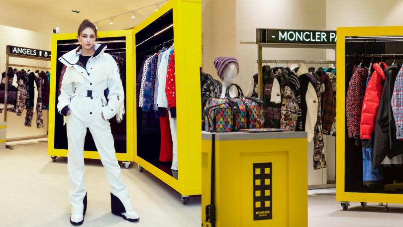 以螢光黃色貨櫃打造的限時概念店,充滿了實驗性與未來感。而昆凌穿著本次聯名系列之一的白色流蘇連身衣,帥氣站台。(圖/品牌提供)