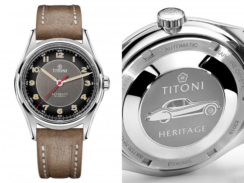 TITONI「Heritage Series傳承」系列,百周年紀念腕錶╱定價:35,700元。錶款底蓋上鐫刻的老爺車,有著二戰時代的三角弧形車窗設計,傳承歷史風華。(圖╱TITONI提供)
