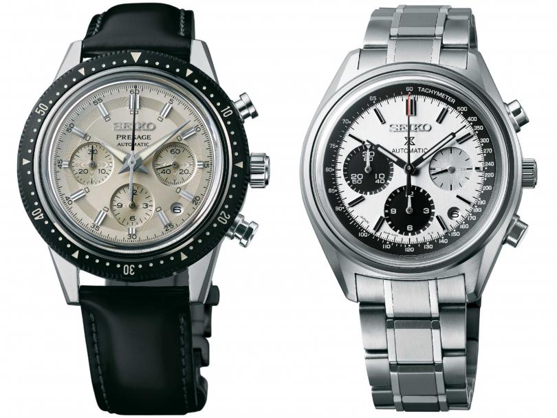 (左)SEIKO「Presage」系列計時碼錶,55周年紀念款╱定價:108,000元;(右)SEIKO「Prospex」系列自動上鍊計時碼錶,50周年紀念款╱定價:120,000元(圖╱SEIKO提供)
