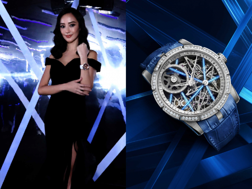 (左)時尚女星關穎,擔任Roger Dubuis「Excalibur Blacklight」全新限量腕錶展開幕嘉賓;(右)Roger Dubuis「Excalibur Blacklight」系列,鏤空自動上鍊腕錶╱定價:3,200,000元(圖╱Roger Dubuis提供)
