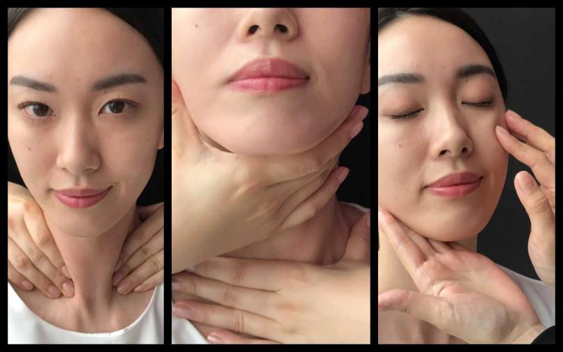 按摩方式:從頸部開始按摩,下巴處往上到額頭用小圈小圈按摩,確認肌膚注入微營養素,在顴骨處深壓3秒鐘再放開,加強循環。頸部以餬口處由上往下按摩。(圖片/黃筱婷拍攝)